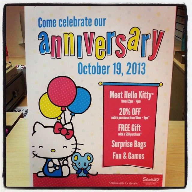 Join the fun this Saturday at Sanrio Tyler! Help us celebrate  Hello Kitty's birthday! Hello Kitty will be there from 12-4 and the store will have a huge 20% off sale in the morning from 10-1! #helloKittybirthday #sale #sanrio #sanriotyler
