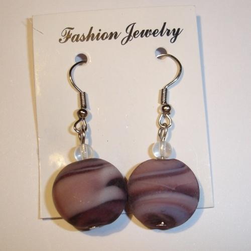 Orecchini vetro soffiato pressato opaco  Glass earrings (opaque effect)