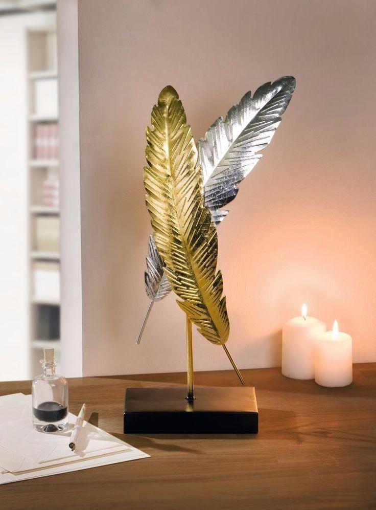 Simple Feder Deko Objekt Glanzfedern Gold Silber Metall Sockel eBay