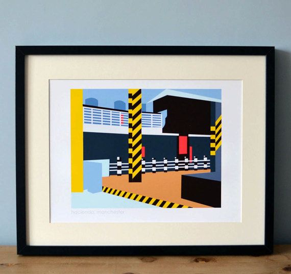 This striking Hacienda print is a must have for Manchester music lovers, young and old!  Celebrating the diverse music scene of the 80s and early 90s, the Hacienda became one of the most famous nightclubs on the planet.  This contemporary and nostalgic art print, designed by nettyanddi reflects the stark industrial design of the nightclub interior, which was so ahead of its time.  Available in 4 sizes, A4, 8x10 inches A3, 11x14 inches  Printed on high quality matte paper using non fade inks…