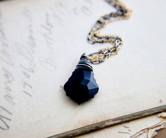 Nero collana di cristallo, cristallo, pendente di cristallo, metalli misti, barocco cristallo, cristallo Swarovski, oro, argento, PoleStar