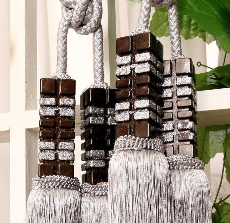 "Luxury Tassel Tieback Curtain Holdback Gray Silver Beige Extra Large 13.5-14"""
