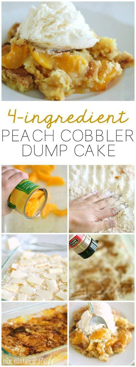 Delicious peach cobbler dump cake that only uses 4 ingredients!   SixSistersStuff.com. Add blueberries and nutmeg.