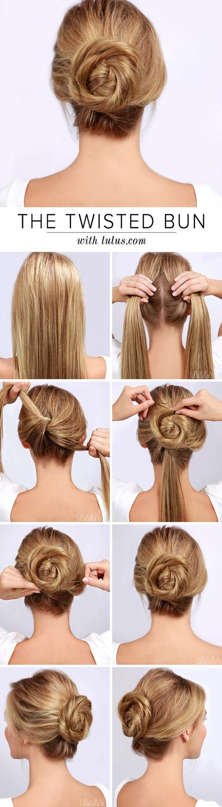 This is an adorable spiral twisty bun that looks really easy to do. It's a great twist on the traditional bun! Happy hair twisting Bellas:) xoxo http://blog.lulus.com/beauty/lulus-how-to-twisted-bun-hair-tutorial/