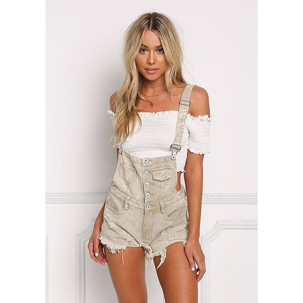 Khaki Distressed Button Up Shorts Overalls - Denim ($50) ❤ liked on Polyvore featuring jumpsuits, rompers, short bib overalls, sexy overalls, denim rompers, bib overalls and short overalls