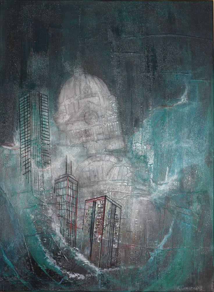 """Sea of Recall"" 40"" x 30"" © Karen Goetzinger thread and acrylic on stretched canvas www.karengoetzinger.com"