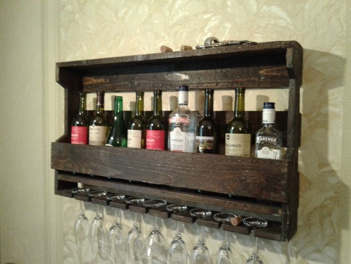 "Home bar, wooden wine racks ,pallet furniture, wine shelves, wall wine rack ,wooden wine racks ,wine holder ,bar home ""Dark chocolate"". by Renaissance Provence furniture, $111.00 USD"