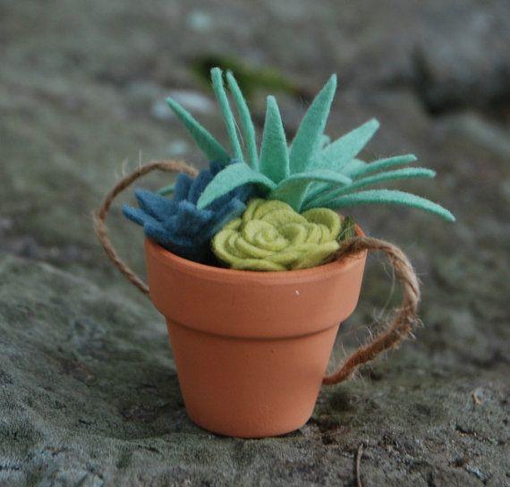 Tiny Felt Succulents in a Clay Pot - Faux Succulents - Potted Air Plant - Artificial Succulents - Felt Plants