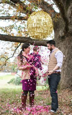 Baby Gender Reveal Piñata - using a pull string to release and tissue paper as confetti (biodegradable)