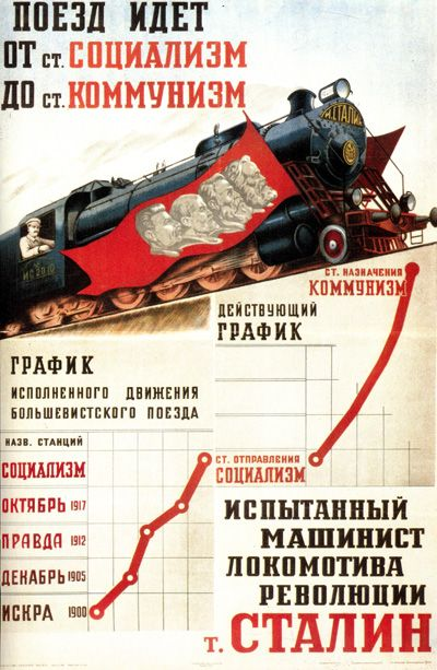 The train goes from the Socialism Station to the Communism Station.