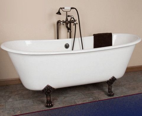 Charming Charles 67 Inch Double Slipper Cast Iron Bathtub
