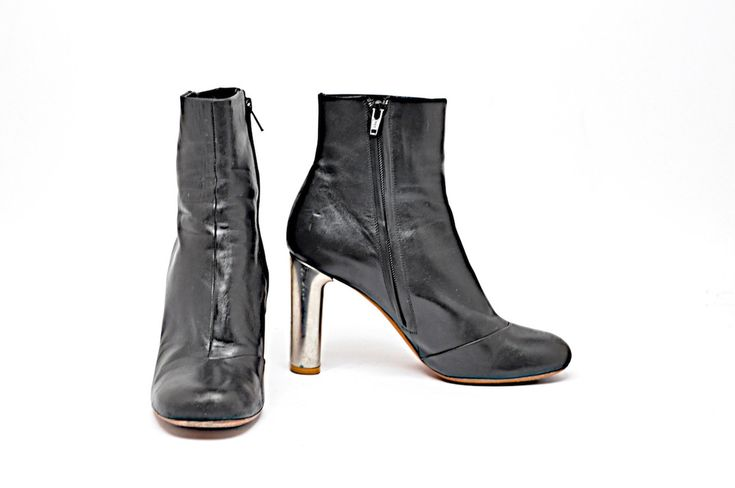 """CELINE Black Leather 3.75"""" High Ankle Boots with Silver Metal Heel  38  FAB #Celine #AnkleBoots #Casual"""
