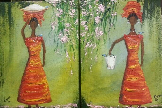 African Ladies. Oils by Caren.sold