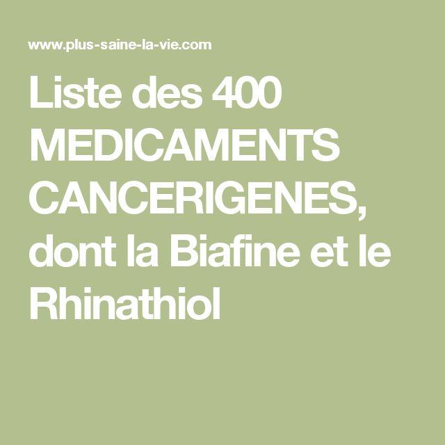 Liste des 400 MEDICAMENTS CANCERIGENES, dont la Biafine et le Rhinathiol
