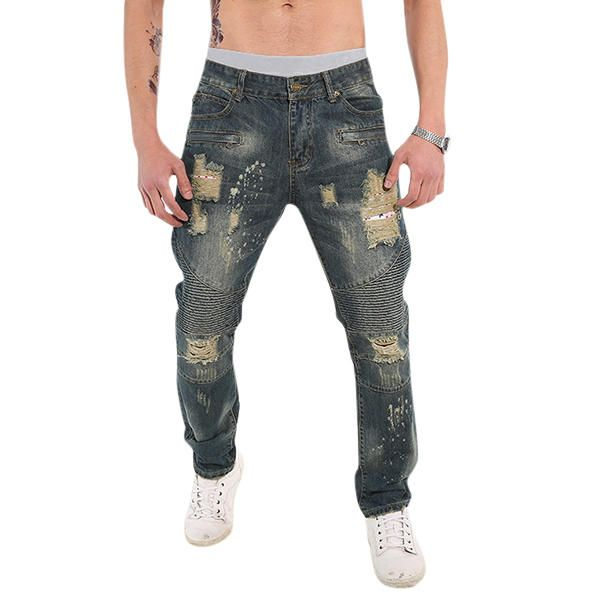 22b4d0174bf Mens Fashion Fold Casual Loose Biker Cotton Washed Holes Frayed Jeans Denim  Pants at Banggood