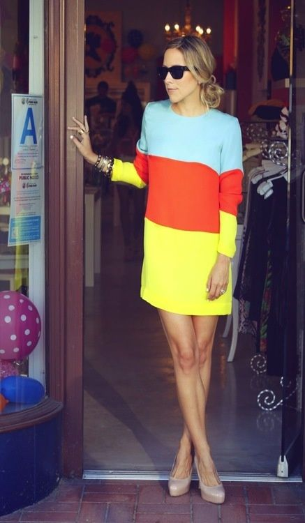 love the colors!: Spring Dresses, Style, Blocks Dresses, Colorblock Dresses, Shift Dresses, Nude Heels, Colour Blocks, Stripes, Colors Blocks