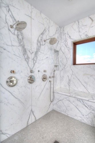Calacatta Gold Shower By Artistic Tile Bathroom