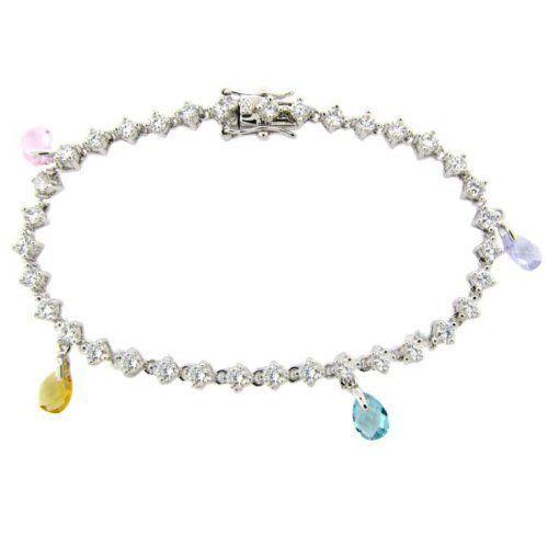 Sterling Silver CZ Multi Color Stones Bracelet LEAH HANNA. $19.99. Save 50% Off!