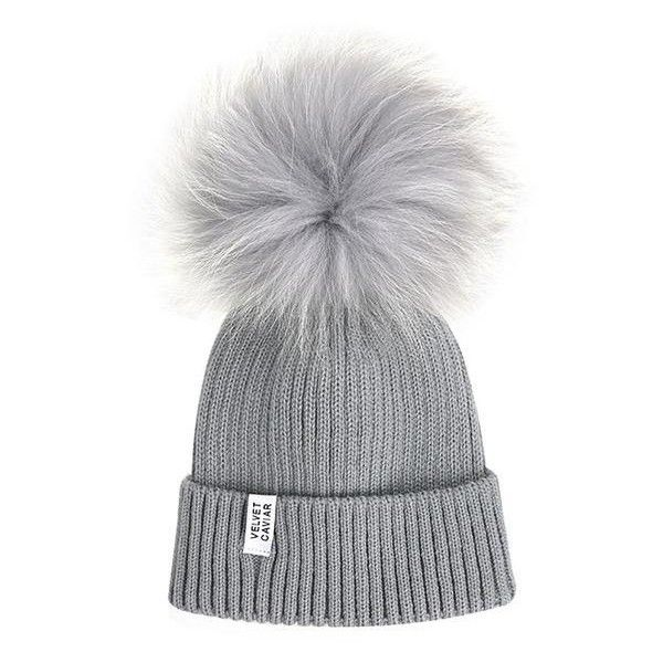 Lux Gray Fur Pom Beanie Light Gray ($45) ❤ liked on Polyvore featuring accessories, hats, grey beanie, gray beanie, grey hat, pompom hat and beanie hat