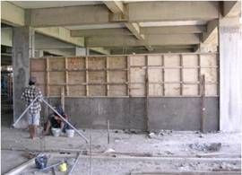 wall in site filled with cellular lightweight concrete