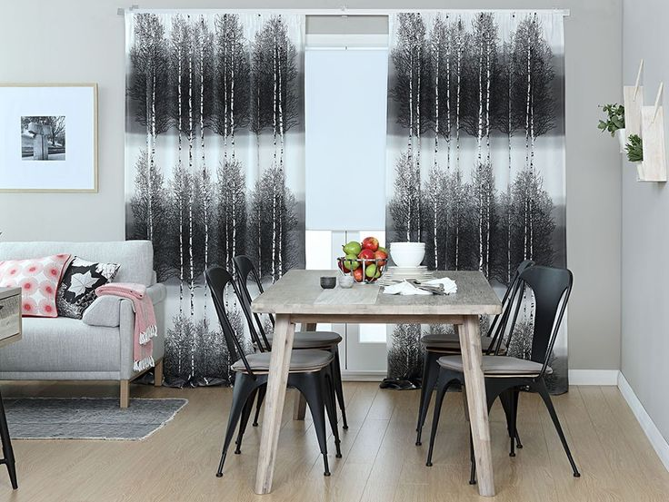 Koivikko Grey Curtain Panel - A moody and beautiful birch tree design in grey and white with a gradient background. Designed by Vallila Interiors in Helsinki and exclusive in NZ to Harvey Furnishings.