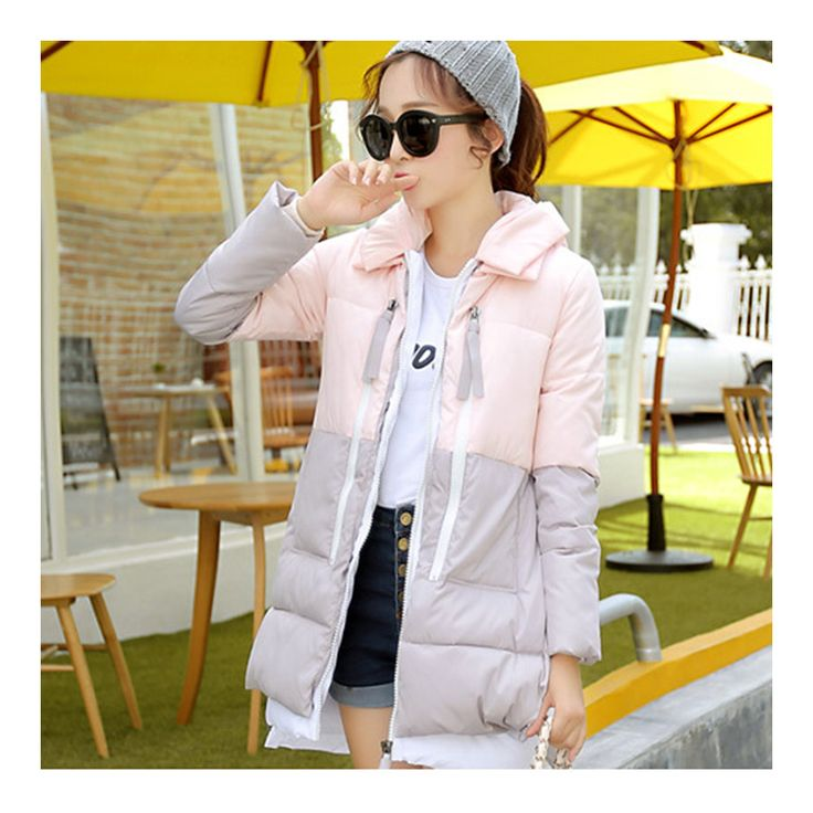 Winter Motley Middle Long Down Coat Loose Thick Warm grey+pink M