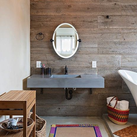 Rustic and modern elements can be combined to create an individual bathroom design.