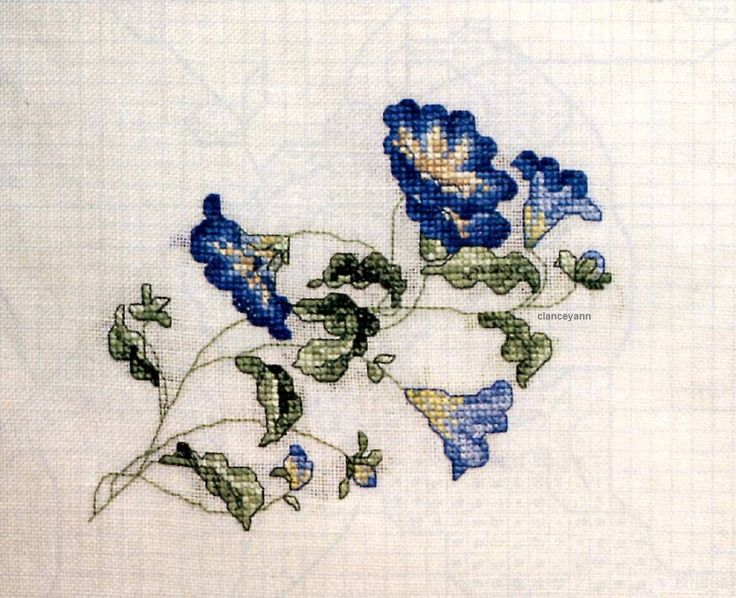 Morning Glories Pillow Cross Stitch Pattern Dainty Flowers Blooms Marie Barber | eBay