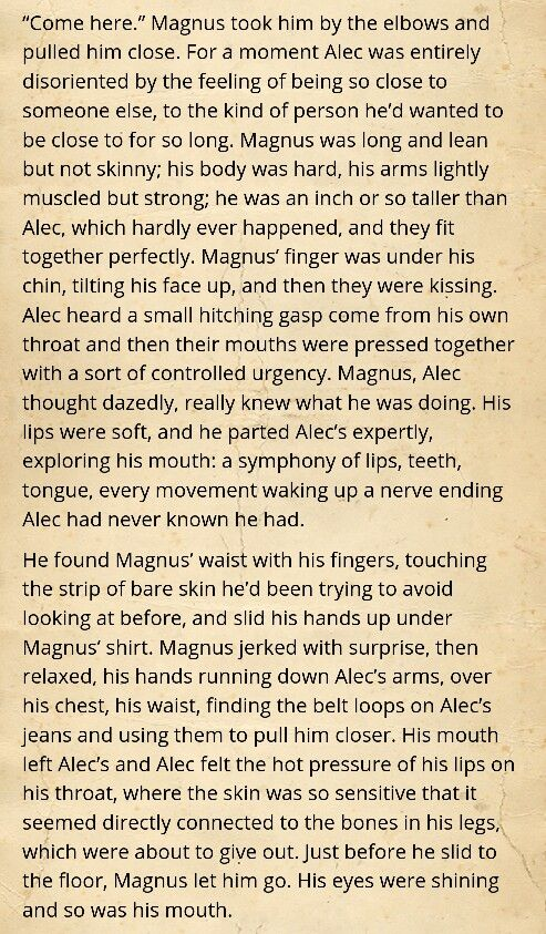 Malec's first kiss!! Anybody else need a cold shower after reading this!?