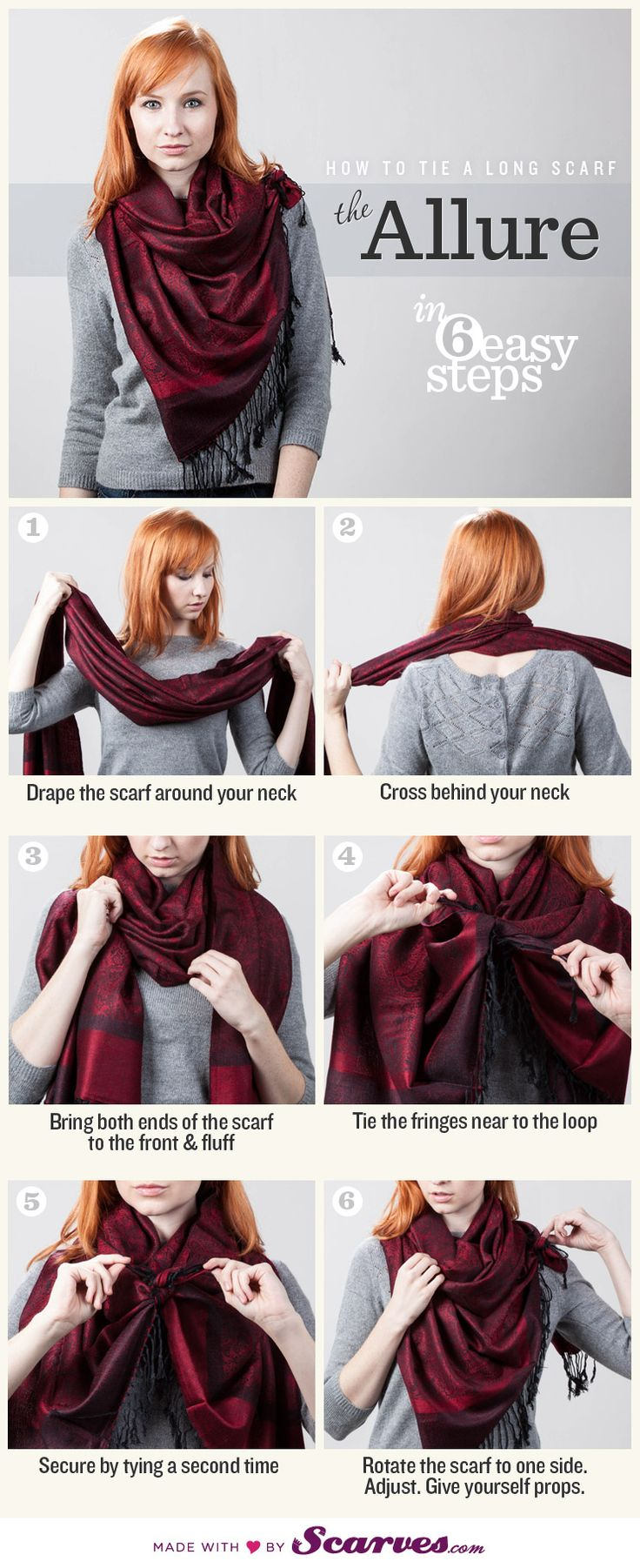 How To Tie a Long Scarf - link to different ways, some new ones for me. Great pics with funny explanations.