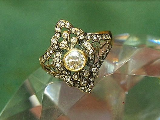 Jewellery-Ring-Antique-Victorian filigree 18 carat gold and diamond ring