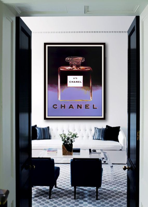 Chanel No.5 Perfume Poster PRINTABLE Andy Warhol - 5 sizes/same price, Chanel poster, Wall poster, Fashion art, Dorm room art, Gift for her