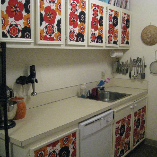 1 Room Kitchen Decoration: Fabric/Spray Starch Covered Cabinets. No Damage To