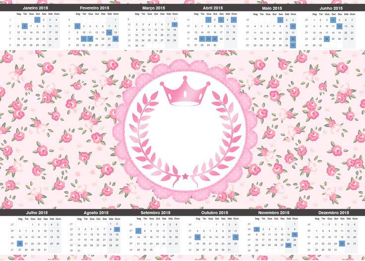 Uau! Veja o que temos para Convite Calendário 2015 2 Coroa de Princesa Rosa Floral
