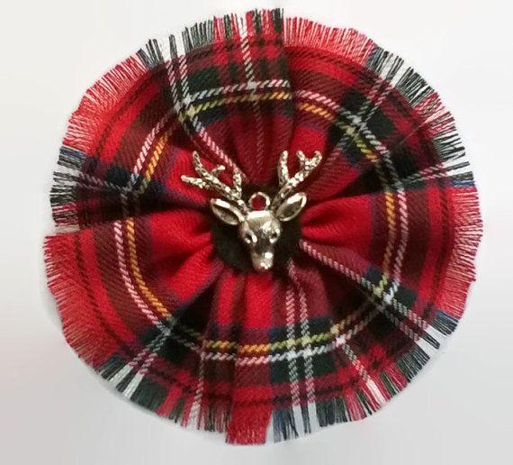 Red Tartan Plaid Brooch Royal Stewart Stag Scottish Corsage Highland Fringe New Deer Crystal