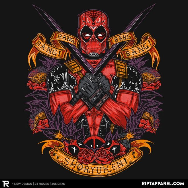 Day of the Dead Pool - Part of a set of 3 beautiful Marvel-themed designs by Ript Apparel.