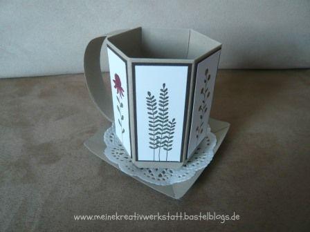 Verpackung, Stampin up, Tasse, Envelope Punch board, flowering fields, www.meinekreativwerkstatt.bastelblogs.de