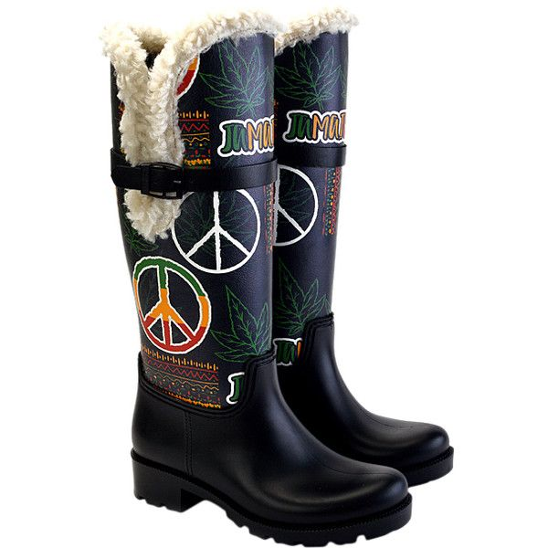 WALKRAIN Black & Green 'Jamaica' Rain Boot ($55) ❤ liked on Polyvore featuring shoes, boots, knee-high boots, plus size, black wellington boots, green boots, over-knee boots, green knee high boots and rubber boots