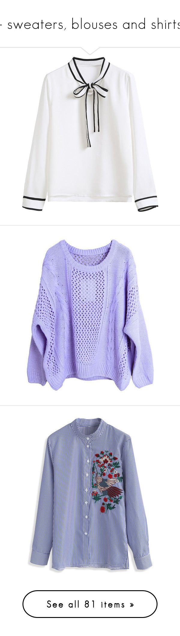 """""""- sweaters, blouses and shirts"""" by a-shaykhina ❤ liked on Polyvore featuring tops, blouses, clothing - ls tops, shirts, white, long sleeve shirts, long sleeve collar shirt, banded collar shirts, neck ties and long sleeve polyester shirt"""