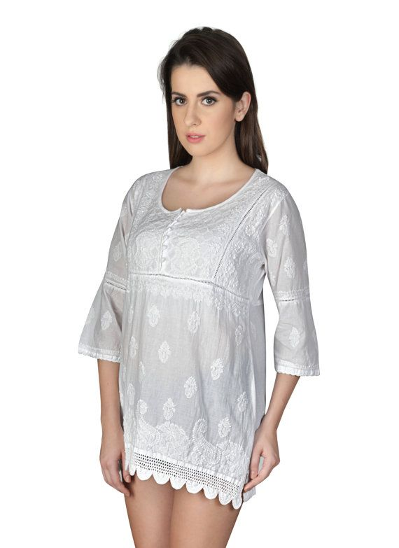 You can never go wrong with this  chikankari tunic crafted using pure Georgette  fabric especially for those women who love to flaunt their real self. And while the world is going organic and green in every sense, this beautiful chikankari tunic  just lets you be in the flow—is handmade, minimalistic in its design yet high on its appeal and much in lines with today's fashion.     An integral part of Indian culture since 655AD, chinkankari has been strongly rekindled to match the taste of…