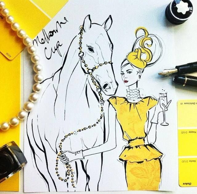 2013.11.05 My dream outfit for the Melbourne Cup: Oscar de la Renta dress, Daphne Guinness headpiece and lots and lots of Paspaley pearls. I also think it's completely fine for your horse to wear Paspaley too!