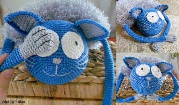 Озорной кот крючком. Котоподушка-игрушка. Описание вязанияОзорной кот крючком. Описание вязания