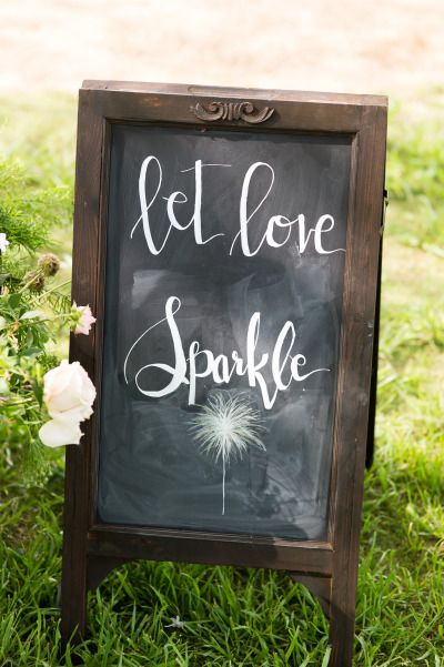 Let love sparkle chalkboard sign.