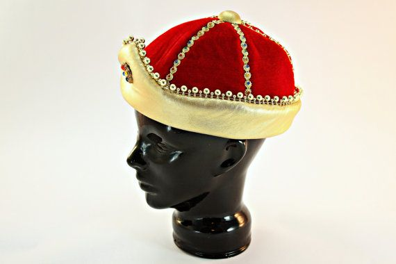 Royal Costume Hat, Prince Costume Hat, Prince Costume Cap, Midieval Costume Cap, Red and Gold Theater Cap, Adult Royalty Cap, Stage Prop Cap