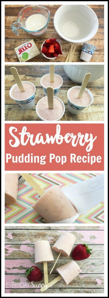 Easy Strawberry Jello Pudding Pops recipe. Requires just a few simple ingredients including fresh strawberries. These pudding pops are made in paper cups and so easy to make that kids can help. The hardest part is waiting for them to freeze. Fun family desserts that would even be great for a party.