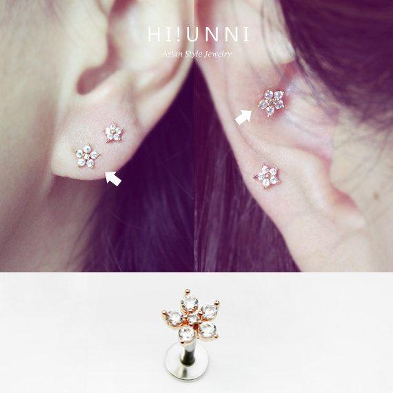 16g Sparkly Blume Knorpel Ohrring CZ Ohrstecker Helix von HiUnni