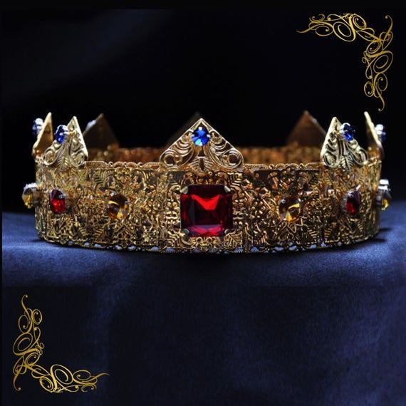 "Blue Velvet Crowns 9/"" King Prince Tiara Imperial Medieval Pageant Party Costumes"