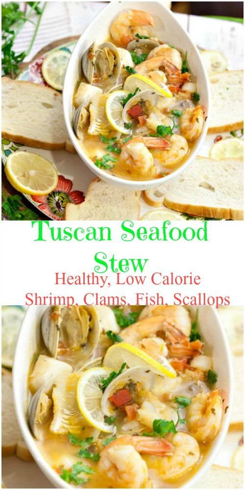 Incredibly easy to make. Tastes restaurant quality! Healthy Tuscan Seafood Stew #seafood #fish