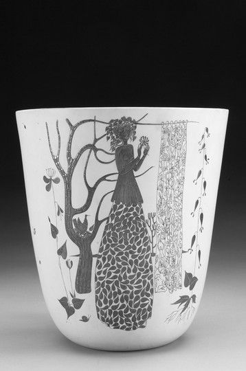 Stig Lindberg; Glazed Ceramic 'Grazia' Vase with Silver Decoration for Gustavsberg, 1954.