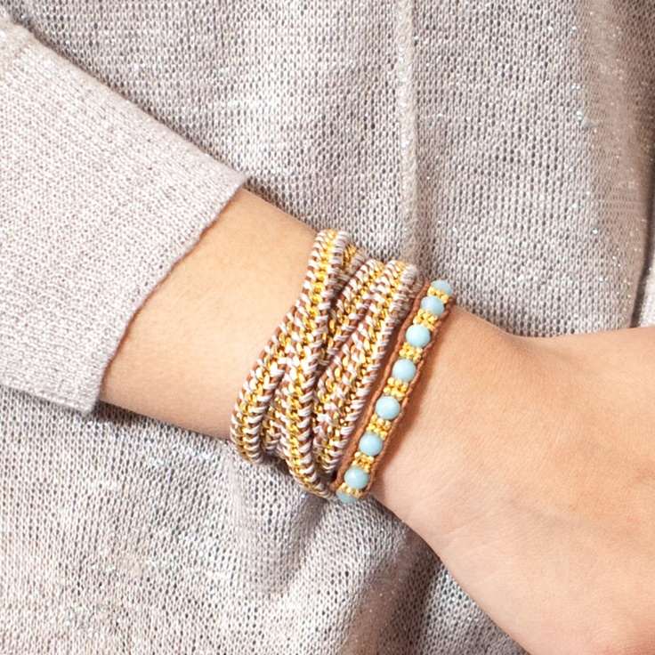 Amazonite Single Wrap Bracelet on Natural Brown Leather - Chan Luu